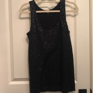 Navy sequin tank top